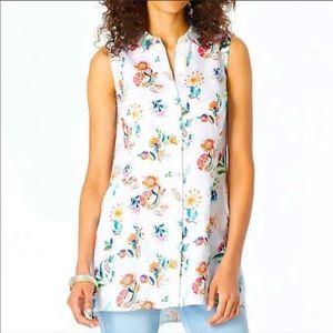 J.Jill linen floral sleeveless top